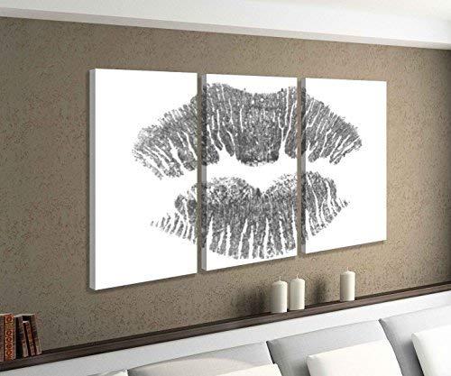Leinwandbild 3 tlg Lippe Lippen rot Kuss abstrakt Liebe Frau schwarz weiß Bild Bilder Leinwand Leinwandbilder Holz Wandbild mehrteilig 9W623, 3 tlg BxH:90x60cm (3Stk 30x 60cm) - Frau Schwarzer Kuss