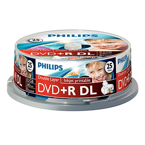 Philips DVD+R Rohlinge (8.5 GB Data/ 240 Minuten Video, 8x High Speed Aufnahme, 25er Spindel, double layer DL, inkjet printable)