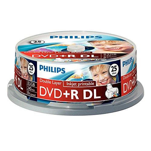 dvd 8gb Philips DVD+R Rohlinge (8.5 GB Data/ 240 Minuten Video, 8x High Speed Aufnahme, 25er Spindel, double layer DL, inkjet printable)