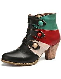 Botines Mujer Cuero gracosy Botas Otoño Invierno Tacón Alto Hecho a Mano Vintage Bohemio Verde Marrón Amarillo Zapatos Laterales con Cremallera para Mujer