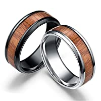 Reizteko 2 PCS Men's Titanium Ring Band, Wedding Ring with Real Wood Inlay, 8mm Comfort Fit Sizes 6 to 13 (6)