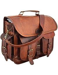 Shakun Leather Bolsa de mensajero en cuero verdadero de cabra, diseño vintage, NUEVO