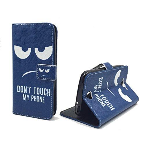 König-Shop Handy-Hülle für Acer Liquid Z530 Klapp-Hülle aus Kunst-Leder | Inklusive Panzer Schutz Glas 9H | Sturzsichere Flip-Case in Blau | Im Dont Touch My Phone Smiley Motiv Blau
