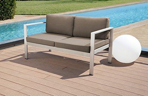 Ribelli 4 Teilige Aluminium Polyester Lounge Set Sitzgruppe Sitzgarnitur Silber