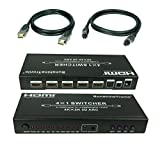 SunshineTronic Ultra 4x1 HDMI Switch, Audio-Extraktor, 4Kx2K, 3D, ARC + 3x HDMI Kabel(v. 1.4a) + Toslink(HQCR)