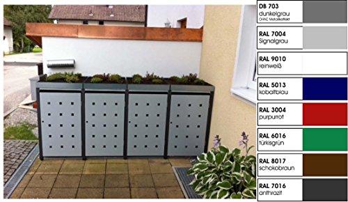 Metall Mülltonnenbox für 4 Tonnen, Müllcontainer, Müllbox. Made in Germany. # Größe: Für 4 Tonnen bis 240 l # Farbe: Farbenauswahl per EMail angeben # Dach: Mit Pflanzwanne # Stanzung: ST 3/5