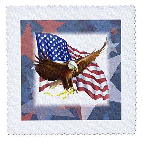 3dRose Bald Eagle auf USA Flagge auf Rot Weiß Blau Sterne, Quilt, Platz, 14von 35,6cm (QS 39614_ 5)