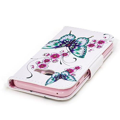 Samsung Galaxy A3 (2017) (4.7 pouce) Coque , PU Cuir Étui Protection Wallet Housse la Haute Qualité Pochette Anti-rayures Couverture Bumper Magnétique Antichoc Case Anfire Cover pour Samsung Galaxy A3 Deux Papillon