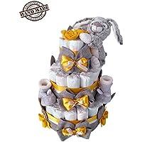 Torta di 50/54 pannolini Pampers o generici, tg. 3, 4-9kg, con scarpine e dolce doudou coniglietto, giallo