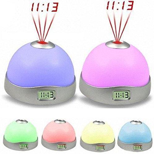 Sannysis 7 Colores Cambio Estrellas de luz de LED Despertador, Magia Proyectores Función, Sensor Luminoso y luz Nocturna