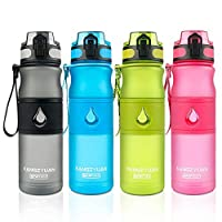 WODENY Sports Water Bottles BPA Free | Fitness Gym Bottle | Running Drinks Bottles | Outdoor Sports Cup Leak Proof with Handle Portable for Men & Women (Black, 530ML)