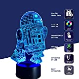 Lámpara de Star Wars, 3D Lámpara de ilusión Escritorio de Luz de Noche con Efecto Optico 3D 7 cambiar el color Toque la Lampara para El Cumpleaños de La Boda Navidad San Regalos