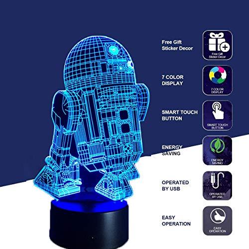3D Illusion Night Light Star Wars LED Desk Table Lamp 7 Color Touch Lamp Art Sculpture Lights Birthday Gift for Kids Bedroom Decor (R2-D2 Robot)