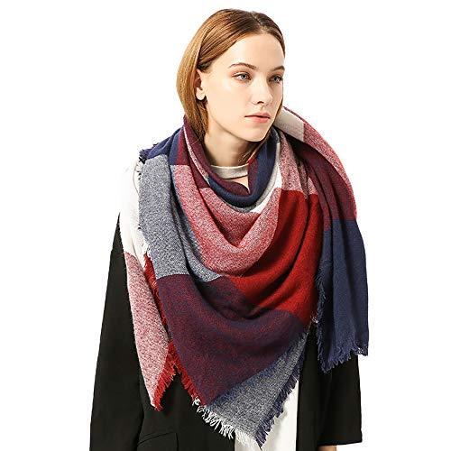 Dorical Damen Winter warme Farben nähende lange Wolle Schal Plaid Eeicher Halstuch Mode Freigabe