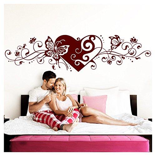 Grandora Wandtattoo Blumenranke Herz selbstklebend I dunkelrot 116 x 29 cm I Schlafzimmer Liebe Love...