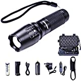 Tactical LED Flashlight SCONFID Adjustable Zoomable 5 Modes 800 Lumens Cree XML T6 LED Torch with Rechargeable Battery