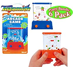 Toysmith Mini Handheld Water Arcade Games Basketball & Fish Food Party Set Bundle 6 Pack (Assorted Colors)