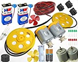 40 Items In 1 Kit/2 high speed dc motor with 2 small pulley + 2 big pulley(50mm)+ 2 long gear belt(pulley belt)/2 2 high speed round dc motor with 2 battery with battery Snap connector + 2 meter wire/3 mini rocker switch/2 fan/resistor/buzzer/2 battery with battery holder/LED/