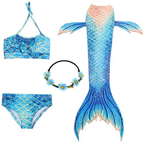 2XDEALS Meerjungfrau Schwanz mit Meerjungfrau Badeanzug Schwanzflosse Zum Schwimmen Kostüm Für Kinder Mädchen, 3-4 Jahre, Luxus Blau