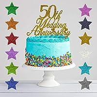 50th Wedding Anniversary Glitter Cake Topper, Golden Wedding Anniversary