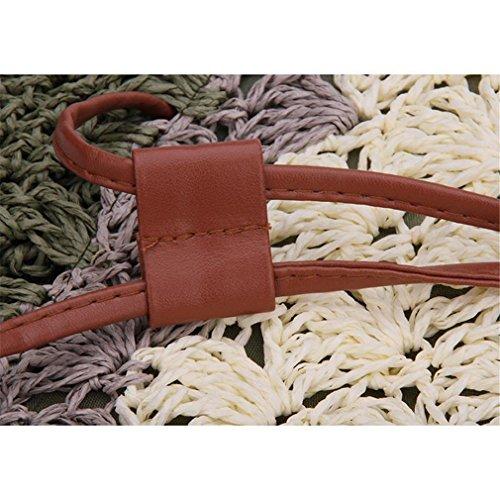 Donne Di Estate Della Boemia Spiaggia Borse Di Paglia Bucket Handbag (verde) verde