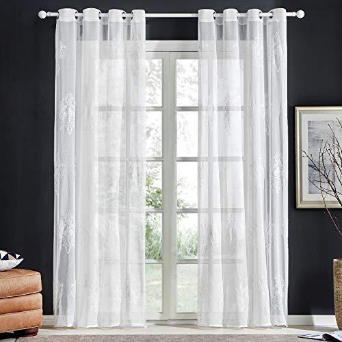 Topfinel Stickerei Voile Gardinen mit Ösen in Leinen-Optik Barock Vintage für Wohnzimmer Fenster Tüll Vorhänge Transparente Dekoschal 2er Set je 240x140cm (HxB) Weiß