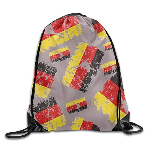 Funny&shirt Freestyle Skiing German Flag Unisex Waterproof Backpack Gym Drawstring Bags. (German Flag Bag)