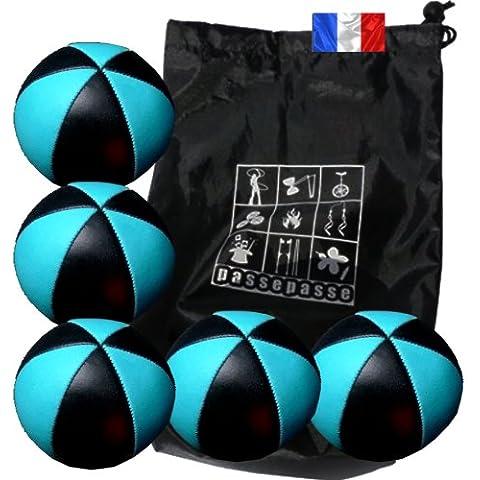 Enveloppebulle-Lotto di 5 palle da giocoliere jongler Flash pro, colore: nero/blu (6 lati), in simil pelle, completo con borsa portaoggetti