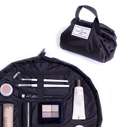 Make Up Bag | Lay Flat Travel Cosmetic Toiletry Case | The Flat Lay Co. | Contents not included (33cm, Black)