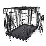 FEANDREA HundeKäfig 2 Türen Hundebox Transportbox faltbar DrahtKäfig Katzen Hasen Nager Kaninchen Geflügel Käfig schwarz XXXL 122 x 81 x 76 cm PPD48H