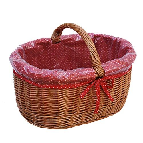 GalaDis 10-99-17 Großer Einkaufskorb aus Weide geflochten mit Innenfutter (rot), Weidenkorb Geschenkkorb Präsentkorb (50 x 35 x 25)