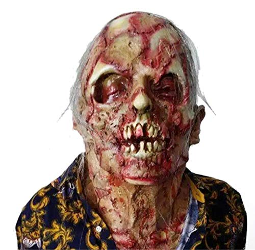 FIREWSJ Halloween Maske Terror Rotten Skull Cover Mask Schmelzendes Gesicht Adult Latex Kostüm Halloween Horror Requisiten (Adult Kostüm Latex)