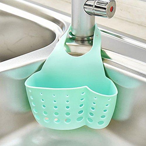 Cesta de almacenamiento colgante, estante de plástico para fregadero organizador de cocina, baño Tamaño libre Lake Blue