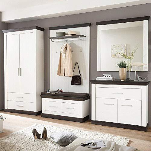 Lomadox Modernes Flur-Garderobenset im Landhaus Stil in Pinie weiß & wenge Nb.