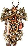 von Eble Uhren-Park Kuckucksuhr Original Schwarzwälder Kuckuckuhr Echtholz mechanisches 8-Tage Laufwerk NEU VDs Zertifikat Hönes -Jagdstück 53cm- 8261/4BU