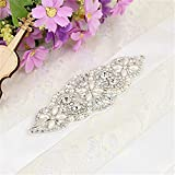 TRLYC Ivory Ribbon Wedding Belt Bridal Belt Wedding Dress Sash Crystal Rhinestone Applique