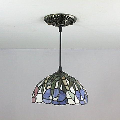 Gweat 8 pulgadas Europea pastoral de la flor púrpura y deja pórtico de la lámpara de techo lámpara colgante de Tiffany