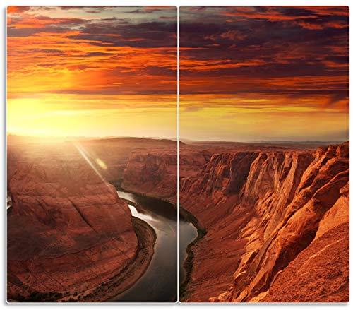 Wallario Herdabdeckplatte/Spritzschutz aus Glas, 2-teilig, 60x52cm, für Ceran- und Induktionsherde, Grand Canyon bei Sonnenuntergang