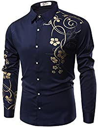 4dc2253f70f PIZZ ANNU Men s Shirts 3D Morning Glory Eagle Peony Print Button Down Long  Sleeve