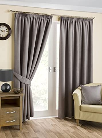 Hamilton McBride Belvedere Blackout Pewter Lined Readymade Curtain Pair 66x54in(167x137cm) Approx