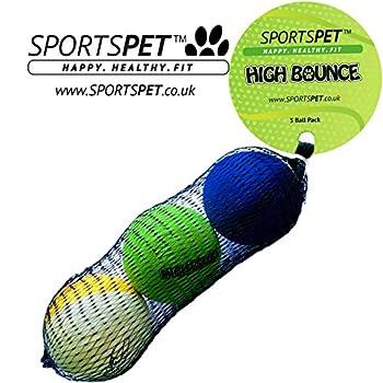 SPORTSPET High Bounce Boules 3 pack - Le Ballons de Sport High Bounce Durable pour chiens