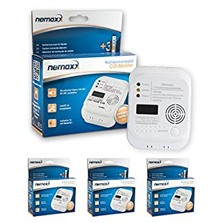 3x Nemaxx Co Melder - intelligenter Kohlenmonoxid Sensor, batteriebetriebener Warner und Alarm mit Digitalanzeige - nach DIN EN50291