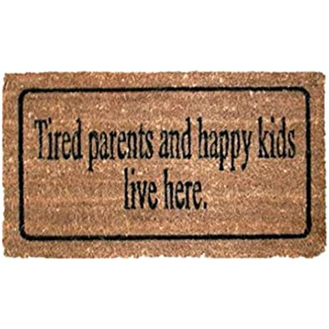 Umore - Tired Parents And Happy Kids Live Here, Retro Style Zerbino (70 x 40cm)