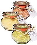 Lashuma Badesalz Geschenk für Frauen, Badezubehör Entspannungsbad Lemongrass, Mango und Erdbeer- Joghurt, Badeset 3 x 250 g