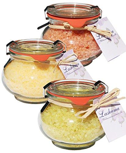 Lashuma Badesalz Geschenk für Frauen, Badezubehör Entspannungsbad Lemongrass, Mango und Erdbeer- Joghurt, Badeset 3 x 250 g - Belebende Bade-salz