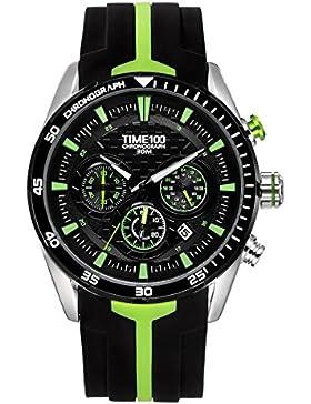 Time100 Renn-Serien Armbanduhr Herrenuhr Quarzuhr Chronographuhr Grün Silikon #W70103G.03A