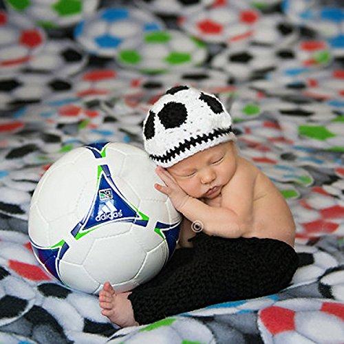 ENCOCO Foto-Fotografie-Requisiten, handgefertigt, gehäkelt, Kleidung, süßes Fußball-Hut, Hose, Schuhe, Set für Babys, Jungen, Mädchen