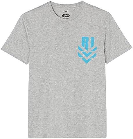 FIND Herren Star Wars T-Shirt , Grau (Grey Marl), Large (Herren Volles Logo T-shirt)
