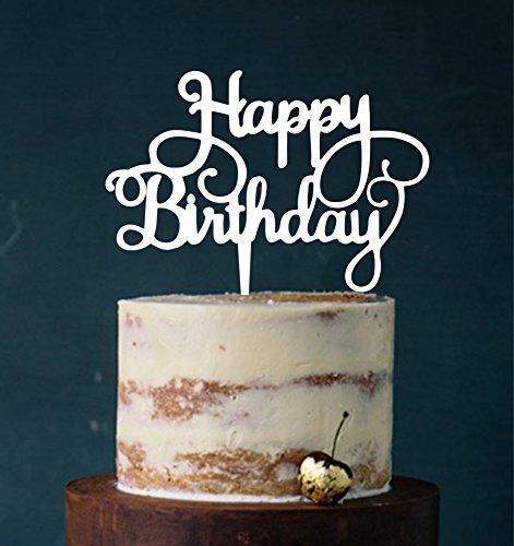 Manschin Laserdesign Cake Topper, Happy Birthday, Tortenstecker Geburtstag, Tortefigur Acryl, Farbwahl - (Weiß)