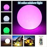 LED Kugellampe, EONSMN Leuchtkugel Gartenkugel Stimmungslicht multicolor RGB mit Farbwechsel und Fernbedienung aufladbar (20cm)